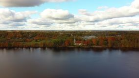 Autumn Aerial Landscape of Koknese Evangelical Lutheran Church and River Daugava stock video