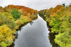 Autumn aerial landscape of Morrum river in Sweden Royalty Free Stock Photography