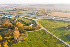 Autumn aerial landscape. Twistling roads in the countryside stock image