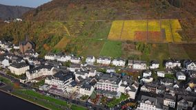 Flight over Cochem town and vineyards, Germany. Autumn aerial over Cochem and Mosel valley, Germany stock video