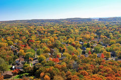 Autumn aerial residential Eau Claire Wisconsin. Aerial view of bright fall colors during autumn in Eau Claire Wisconsin on the planet streets on the north edge Stock Photos