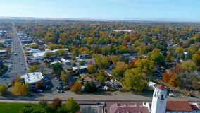 Autumn aerial view of city park and depot. Fall color flyby of the Train depot in Boise Idaho in autumn stock video