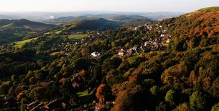Autumn afternoon. West Malvern Worcestershire UK from the air on an autumn evening Stock Image