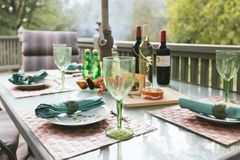 An autumn afternoon dinner. Fall wine outside feast patio lunch October royalty free stock photo
