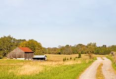 Autumn Afternoon on the Farm. Bright autumn sunshine on an old farm Royalty Free Stock Image