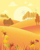 Autumn afternoon. An illustration of a rural autumn fall afternoon with rolling hills colorful trees and fallen leaves under a yellow sky with big sun Royalty Free Stock Image