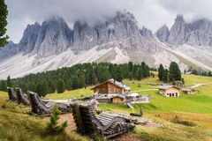 Autumn afternoon over Val di Funes, Santa Maddelena and the Geisler-Spitzen, Dolomites, Trentino-Alto-Adige, Italy.  stock images
