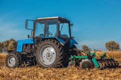 Autumn afternoon tractor rides and pulls the plow, plow a field after harvest of cereals - corn. Royalty Free Stock Image