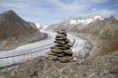 Autumn Aletsch Glacier and Mani Stones, Switzerland. The Aletsch Glacier is the largest glacier in Alps royalty free stock image