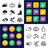 Autumn All dans les icônes une noires et la conception plate de couleur blanche à main levée réglée Photos libres de droits