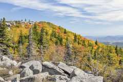 Autumn on the Allegheny Front. The upswell of the Allegheny Front is adorned with fall colors at Bear Rocks in West Virginia's Dolly Sods Wilderness Stock Photos