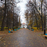 Autumn alley with lanterns and rotunda Royalty Free Stock Photo