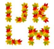 Autumn alphabet Stock Photos