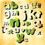 Autumn alphabet with leaves Stock Photography