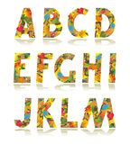 Autumn alphabet set letters A - M. Fall season alphabet set, part 1, letters A - M, decorated with autumn leaves and rain or dew drops, isolated on white Royalty Free Stock Photos