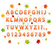 Autumn alphabet. Set of autumn stickers alphabet letters with colored leaves and confetti on white background, illustration Stock Photos