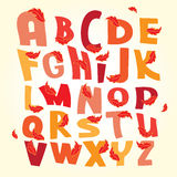 Autumn alphabet vector letters set. With red leaves Stock Images