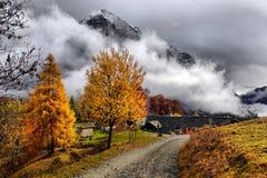 Autumn Alpine-landschap met wolken Stock Fotografie