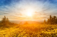 Golden alpine sunset, autumn mountain landscape in blue and yellow colors, nature travel background stock photo