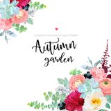 Autumn angle floral frame with mixed bouquets. Of peony, ranunculus, succulents, wild rose, carnation, brunia, black berry, wolf willow and eucalyptus leaves on royalty free illustration
