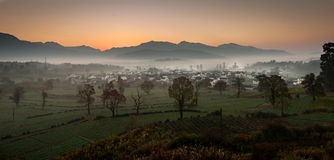 The Autumn of Anhui China. Sunrise of one day in the country, Anhui ,China Royalty Free Stock Photos