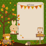 Autumn animal card Royalty Free Stock Photos