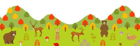 Autumn animals in forest, panoramic Stock Photos