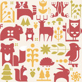 Autumn Animals and Plants in Flat Style Seamless Stock Photo