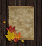 Autumn_Announcement. Red, Yellow and Orange Maple leaves on Old Paper and Wooden background Royalty Free Stock Photos