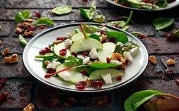 Autumn Apple Cranberry Salad caseiro com noz, queijo de feta e vegetais foto de stock royalty free