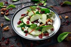 Autumn Apple Cranberry Salad caseiro com noz, queijo de feta e vegetais fotografia de stock royalty free