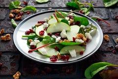 Autumn Apple Cranberry Salad caseiro com noz, queijo de feta e vegetais fotos de stock royalty free