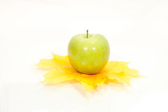 Autumn apple and leaves. On white Stock Photo