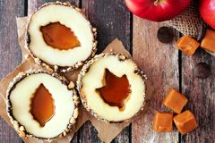 Autumn apple rounds with caramel filled centers Royalty Free Stock Photography