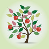 Autumn apple tree in fantasy style. Graphical element. Vector illustration  Royalty Free Stock Images