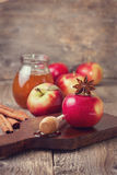 Autumn apples, honey and spices on a wooden background Stock Images