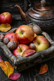 Autumn apples and nuts Stock Photo