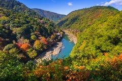 Autumn at Arashiyama view point. And Hozu river, Japan stock photography