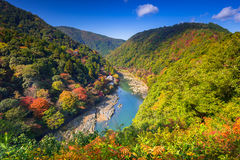 Autumn at Arashiyama view point. And Hozu river, Japan Stock Photo