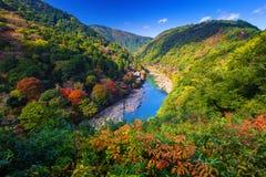 Autumn at Arashiyama view point and Hozu river. Japan royalty free stock image