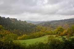View of the autumn nature of Umbria in Italy . Stock Photos