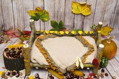 Autumn arrangement for new baby and baby photography Stock Photo