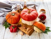 Autumn arrangement of pumpkins stock photos