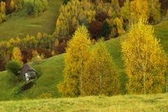 The autumn arrived over the hills stock photography