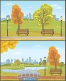 Autumn Autumnal Park with Cityscape Set Vector vector illustration