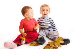 Autumn babies Stock Images