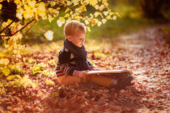 Autumn baby boy consider reading a book under a tree Royalty Free Stock Image