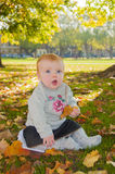 Autumn baby girl Stock Image