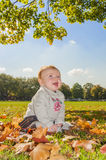 Autumn baby girl Royalty Free Stock Images