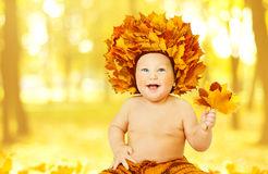 Autumn Baby, Little Kid in Fall Leaves Crown, Child Boy Yellow royalty free stock image